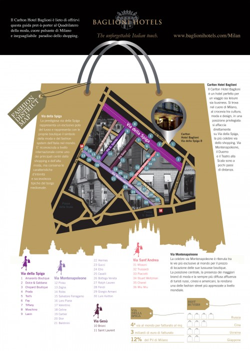 Milano Fashion district map - Baglioni Hotels